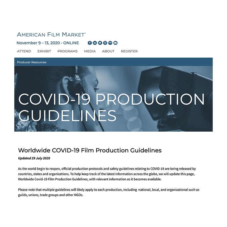 AFM Worldwide COVID-19 Film Production Guidelines