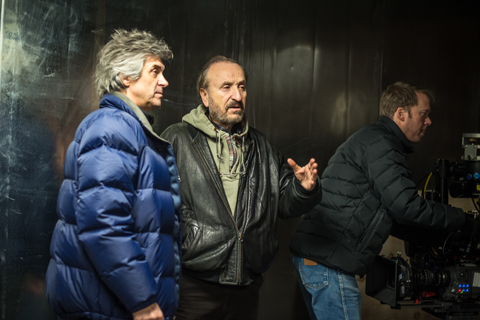 Mikael (center) with cinematographer John Dyer on the set of FREEZER.