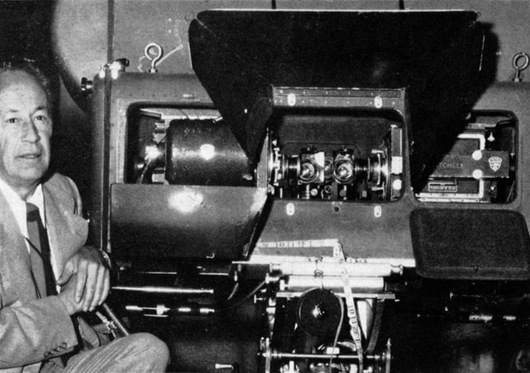 J. Peverell Marley, ASC, pictured with the Natural Vision 3-D camera he used to shoot House of Wax.