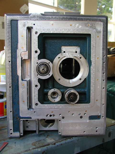 The new front door in place on the Technicolor 3-strip camera.