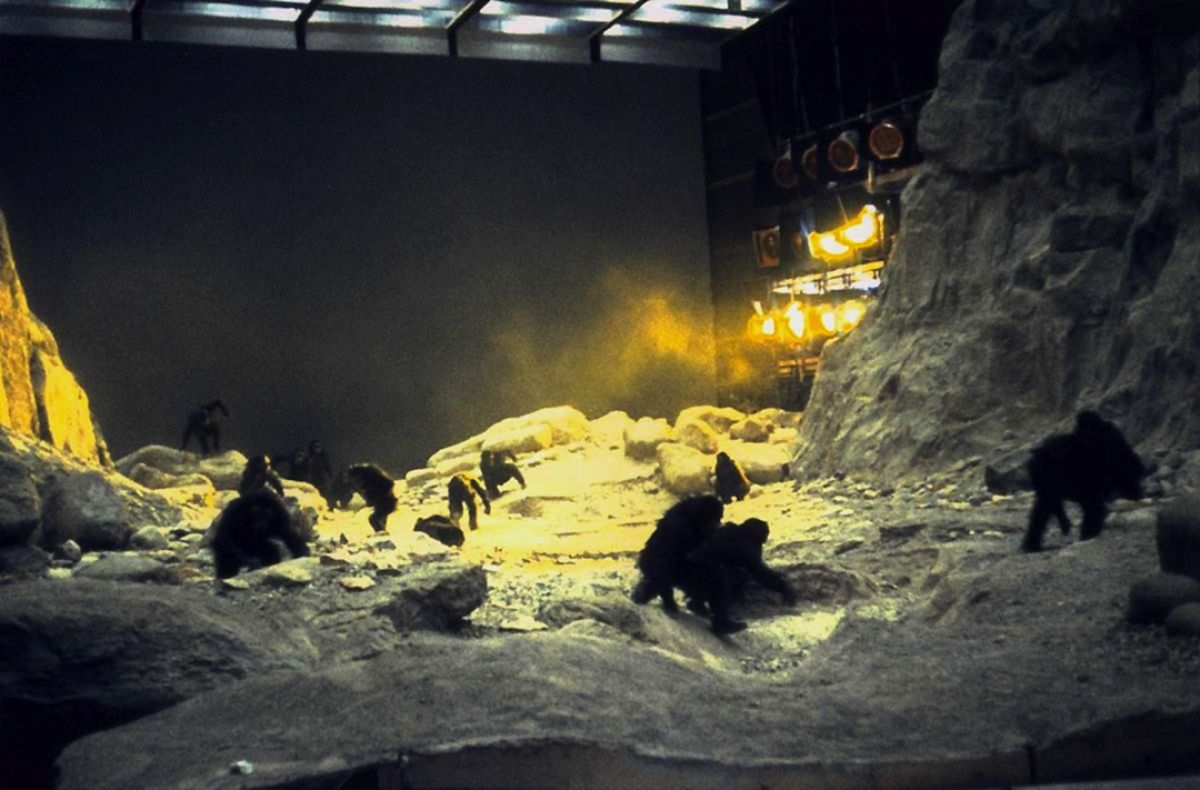 "Filming the ""Dawn of Man"" sequence on stage for 2001: A Space Odyssey (1968), utilizing front projection."