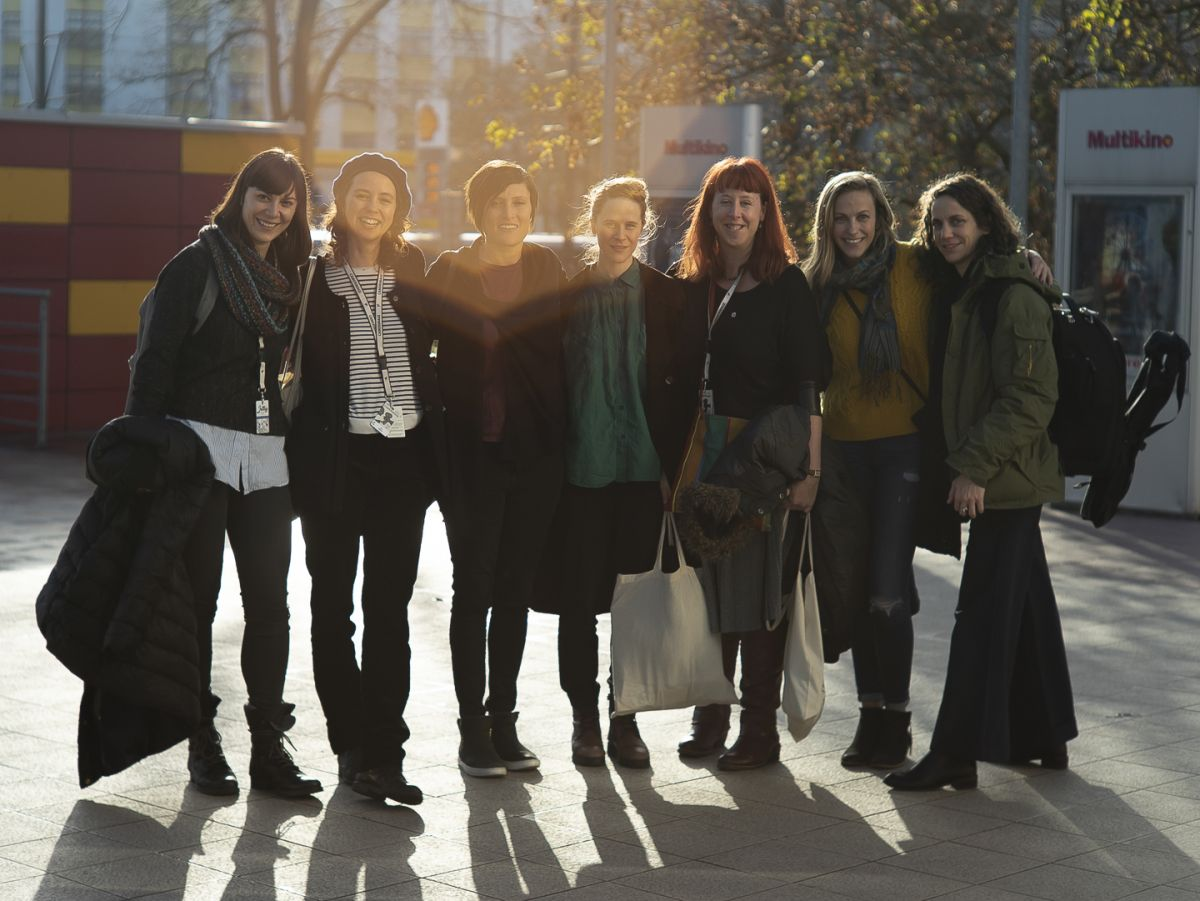 From left are Catherine Goldschmidt, Nina Badoux (who won the Golden Frog for the documentary Radio Kobani); Rachel Morrison, ASC (festival juror; screened her Oscar-nominated film Mudbound); Maria von Hausswolff (who won Best Cinematography Debut for the feature Winter Brothers), Nicola Daley, Adrienne Levy and Danna Kinsky.