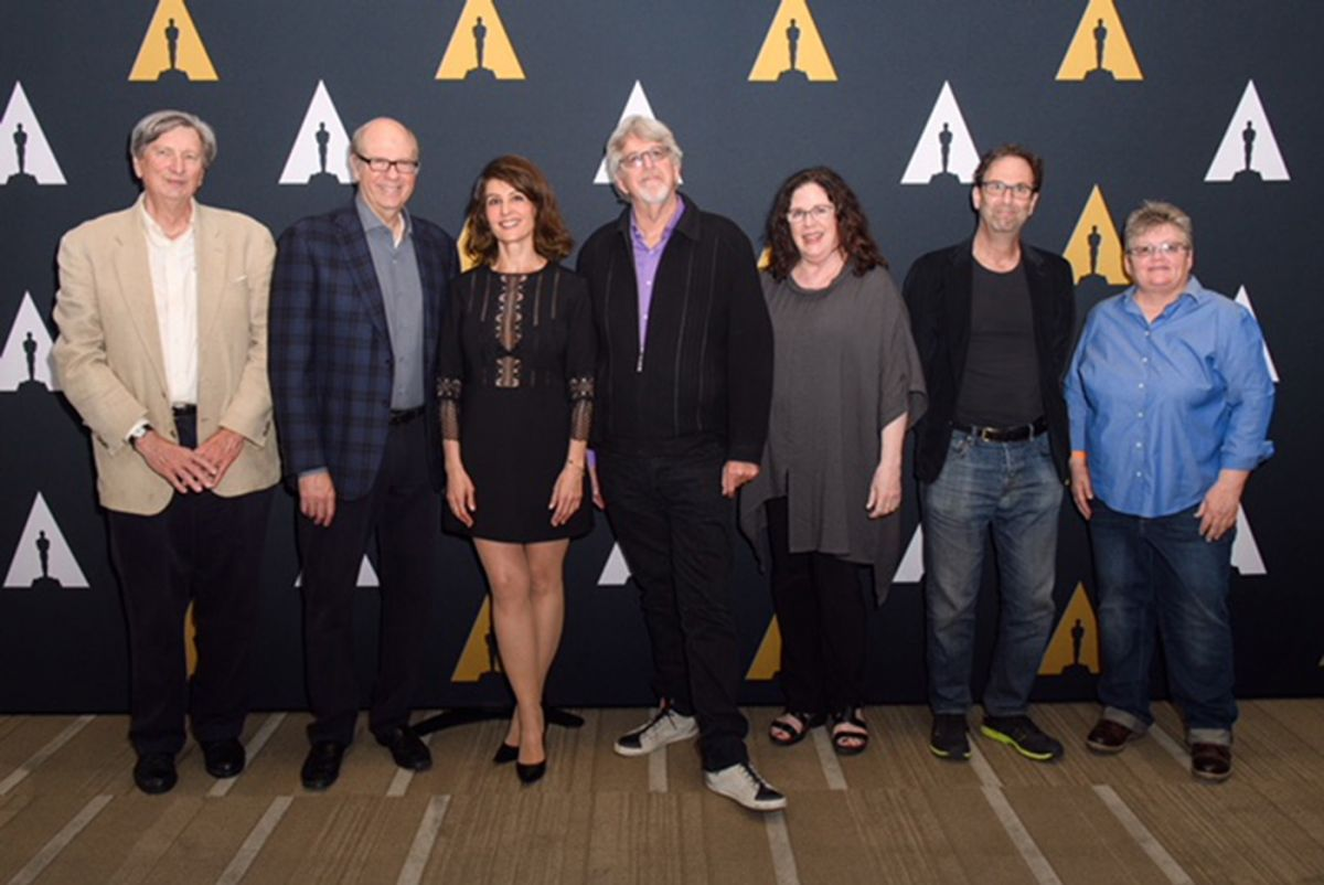 "Panelists (from left): John Bailey, Stephen Tobolowsky, moderator Nia Vardalos, Trevor Albert, Erica Mann Ramis, Danny Rubin and Kim ""Corkey"" Miller. (Photo courtesy of AMPAS)"