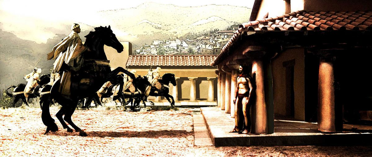 "The image was revised for the production to better show employ the wide frame. ""We weren't completely faithful to the Frank Miller drawing because Zack and and I wanted to open it up and show off a bit of Sparta and surroundings,"" says production designer Jim Bissell. Illustration by Meinert Hansen and Grant Freckelton."