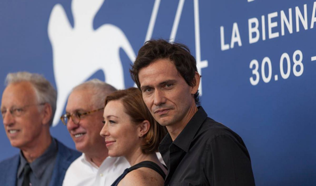 Morris (second from left) with Eric Olson (left) and actors Molly Parker and Christian Camargo at the Venice Film Festival last fall.