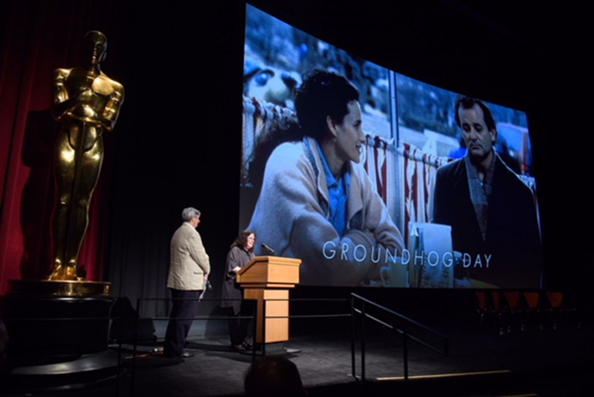 Erica Mann Ramis at the lectern. (Photo courtesy of AMPAS)