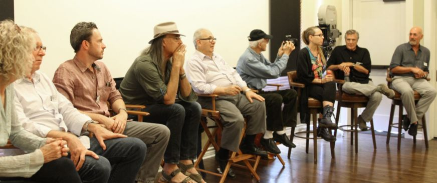 The ASC panelists (from left): Joan Churchill, Peter Moss, Eric Steelberg, Russell Carpenter, George Spiro Dibie, Haskell Wexler, Lisa Wiegand, John Newby and Daniel Pearl.