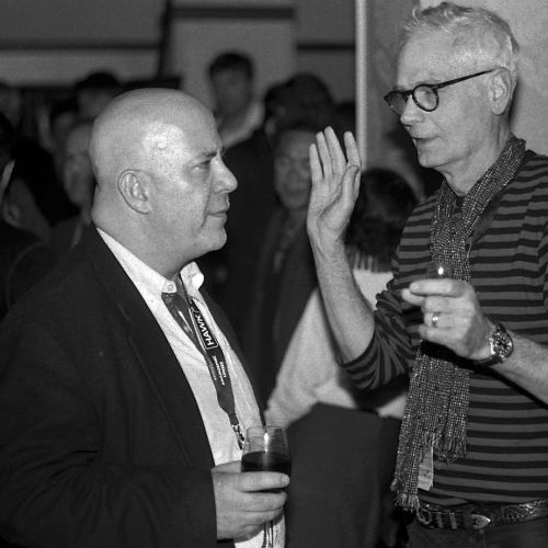 ASC associate member Charlie Herzfeld (left) and Camerimage Lifetime Achievement honoree Caleb Deschanel, ASC.