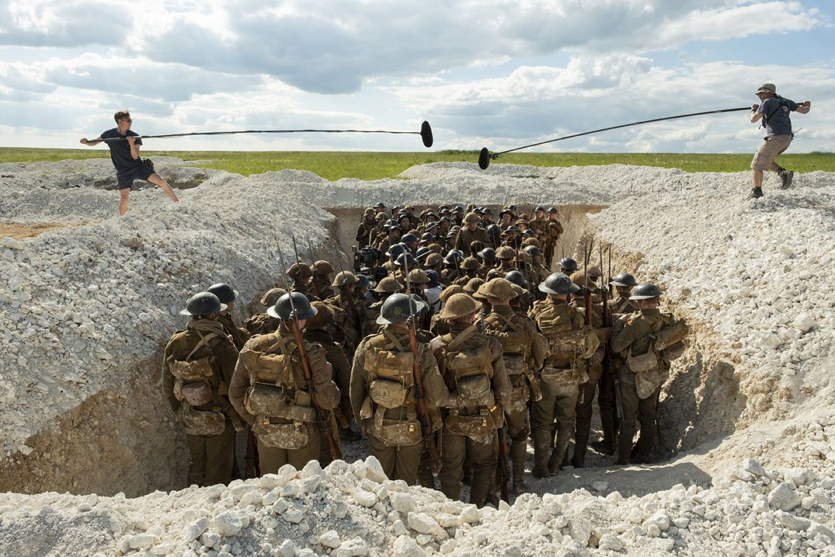 The filmmakers run through a scene of British soldiers massing in preparation for an attack.