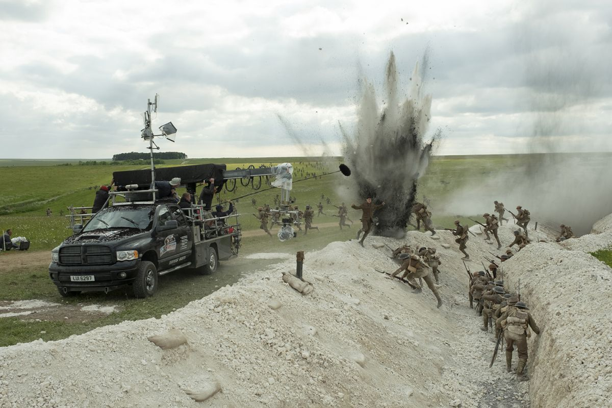 A Technocrane on a tracking vehicle captures a piece of the action.