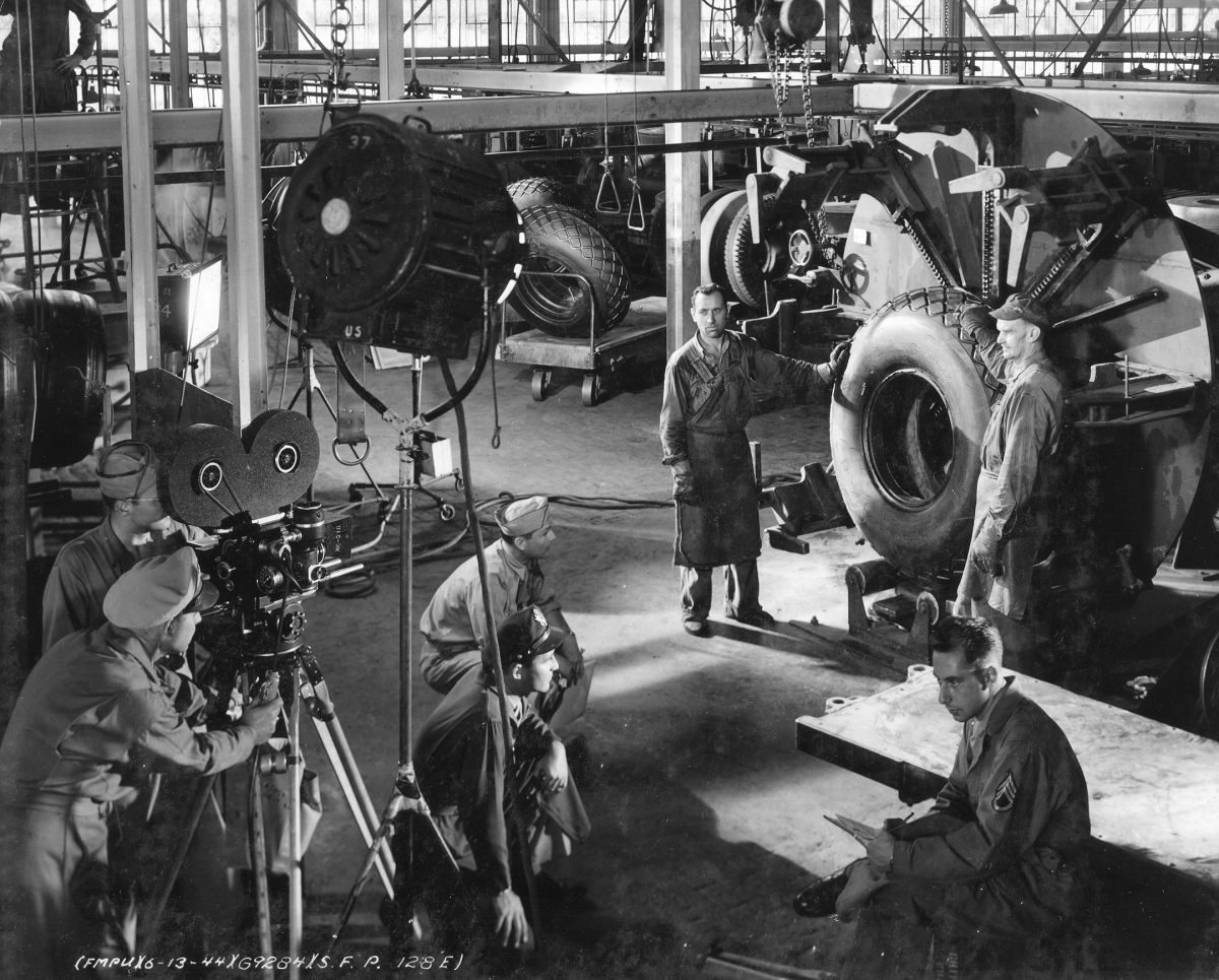 A U.S. Army Signal Corps motion-picture unit crew shoots a training film.