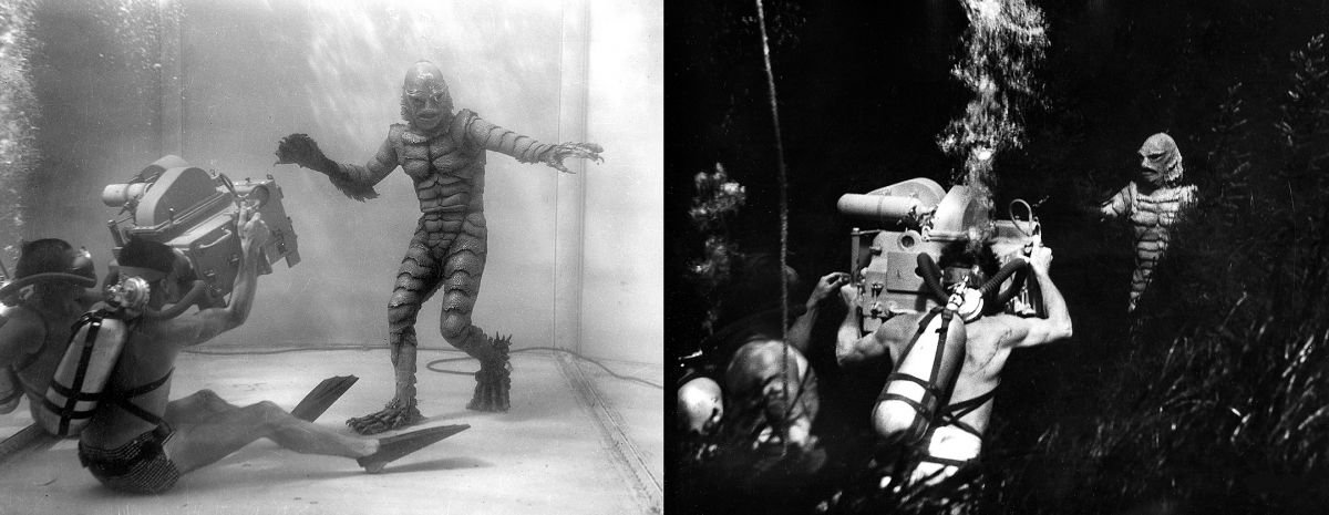 Directed by Jack Arnold, The Creature From the Black Lagoon (1954) was shot in monochrome 3D by William E. Snyder, ASC and stereo specialist Clifford Stine, ASC.