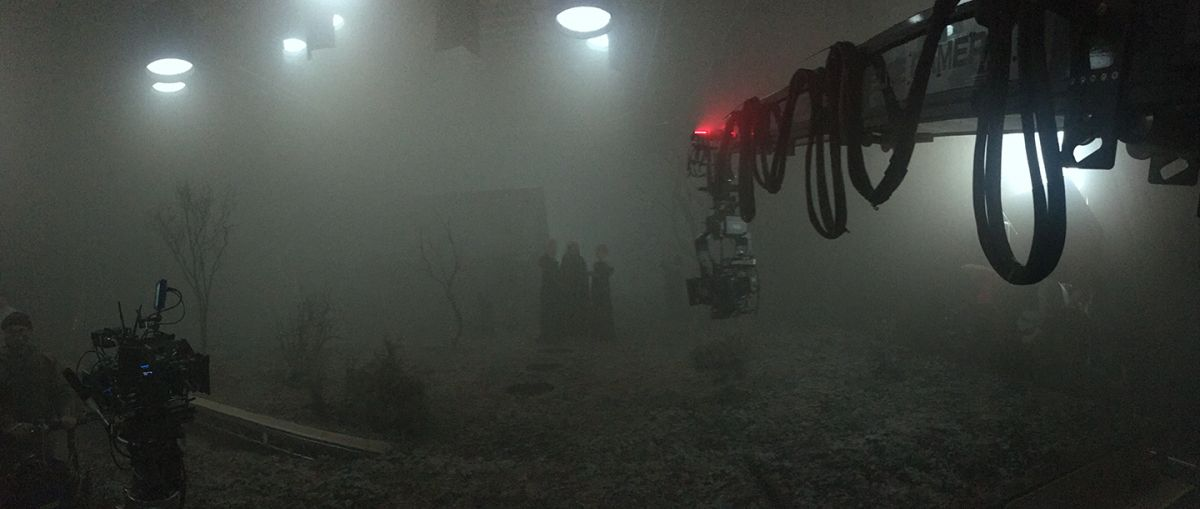 The team works out the camera move on a 30' Super Technocrane. (Photo courtesy of the cinematographer.)