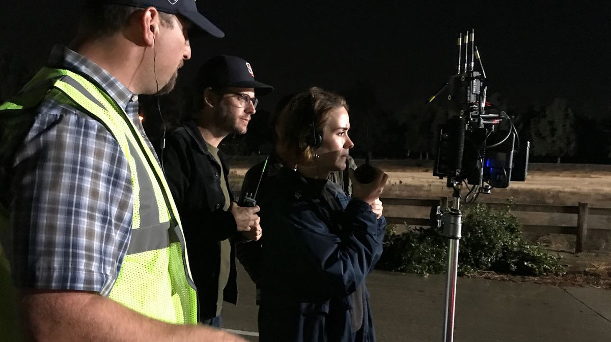 """From left: 1st AD Dan Lazarovits, Kelly and director Sarah Paulson on set. """"She has great sensibilities and is constantly pushing herself and the team creatively,"""" Kelly says of Paulson as a director. (Photo courtesy of the cinematographer.)"""