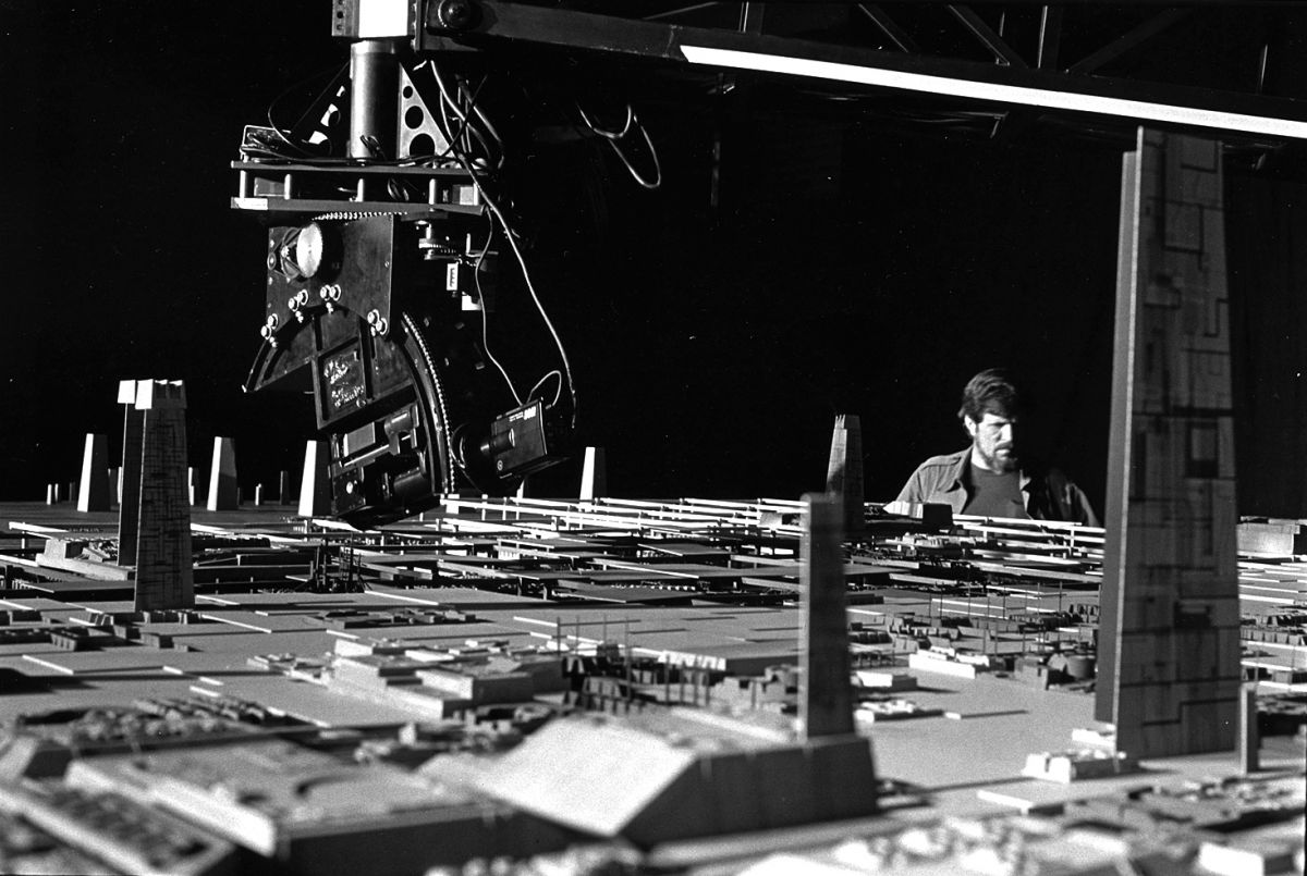 Richard Edlund, ASC supervises a motion-control shot during the production of Return of the Jedi (1983; photo courtesy of the cinematographer.)