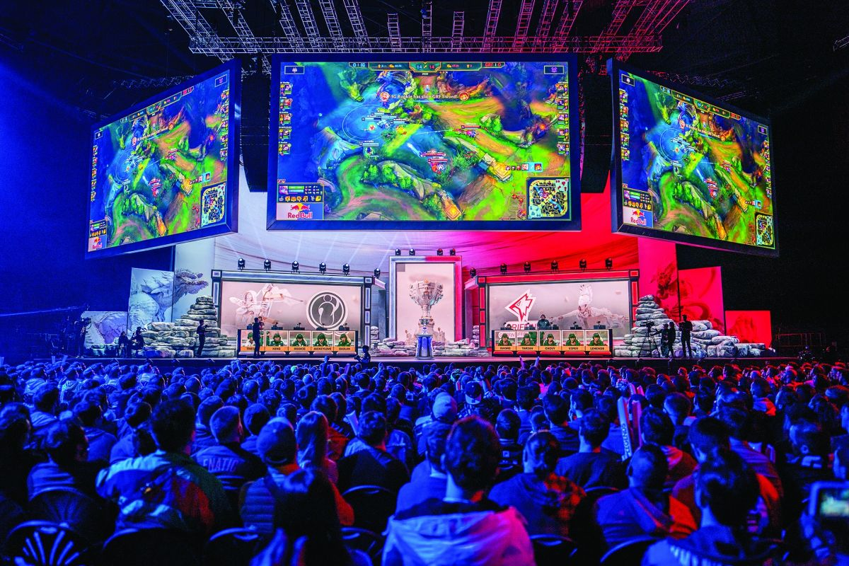 """""""League of Legends"""" 2019 World Championship Quarterfinals with LED stage work by Lux Machina. (Photo by David Lee of Riot Games)"""