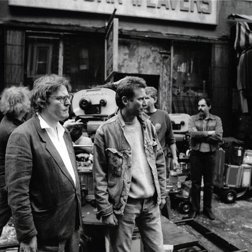 Director Alan Parker (left) and cinematographer Michael Seresin, BSC, at work on location.