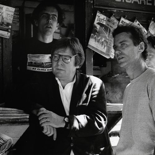 Director Alan Parker (left) and cinematographer Michael Seresin, BSC, on location in New York. Partially visible behind Seresin is camera operator Mike Roberts. The crewmember behind Parker could not be identified.