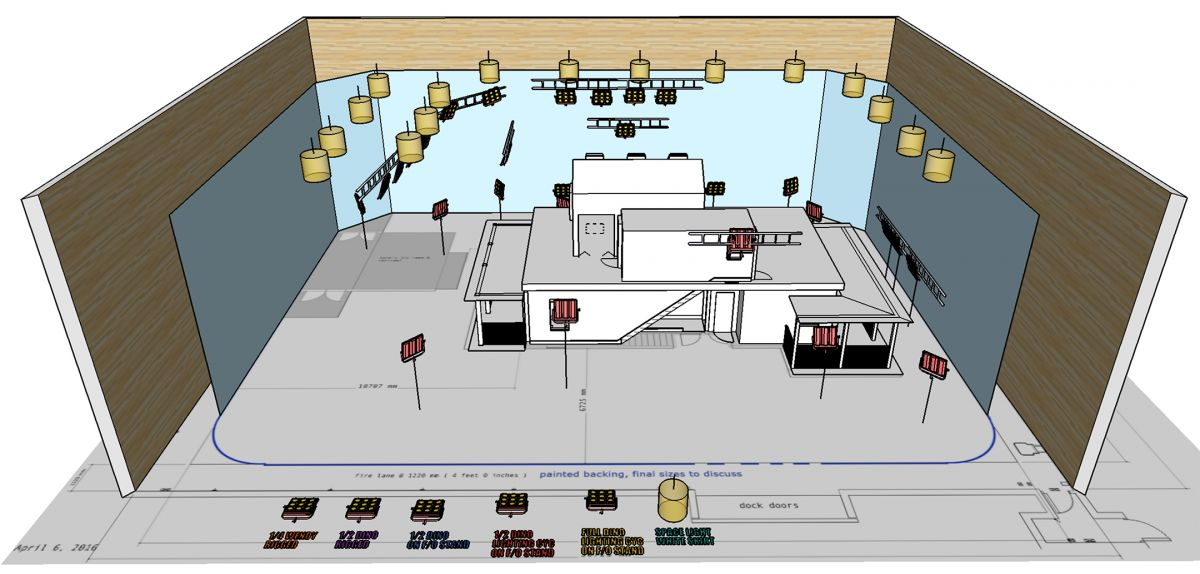 A 3D lighting plot for Lena's home, a set that was constructed on stage.