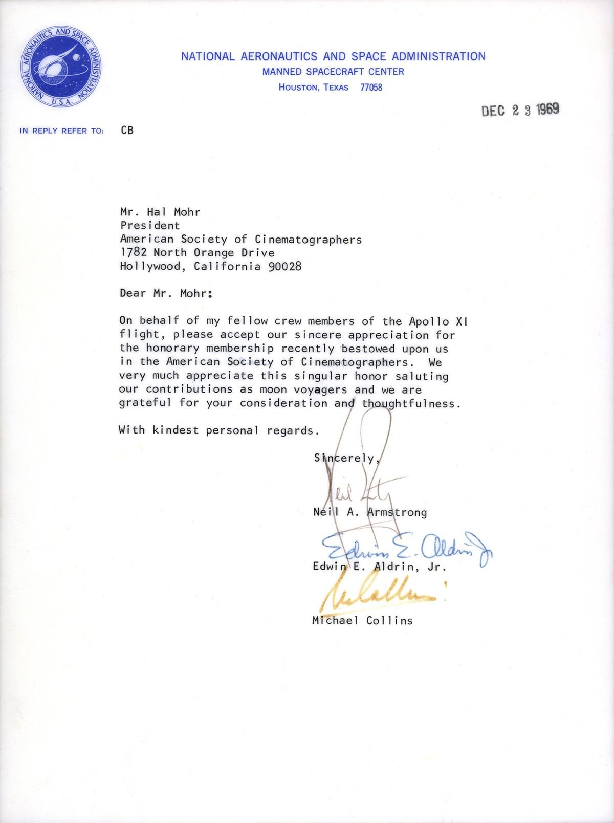 This letter is currently on display at the ASC Clubhouse.