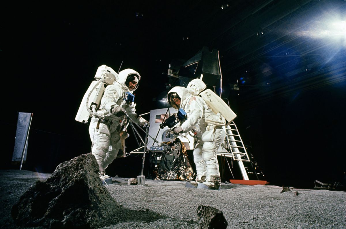 "Rehearsal for a date with Destiny: During simulation exercises Neil Armstrong and ""Buzz"" Aldrin practiced setting up the various scientific experiments which kept them so busy when they actually made the first landing of Man on the Moon."