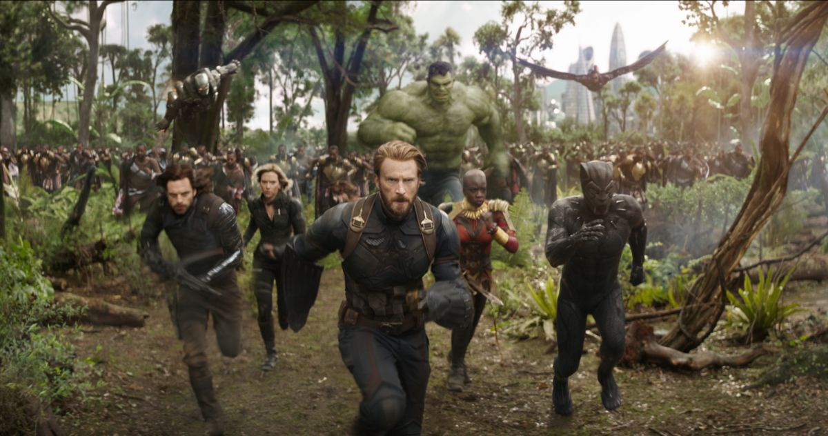 From left: Bucky Barnes (Sebastian Stan), Black Widow (Scarlett Johansson), Rogers, Okoye (Danai Gurira) and Black Panther lead the charge, with War Machine (Don Cheadle), Hulk and Falcon just behind them.