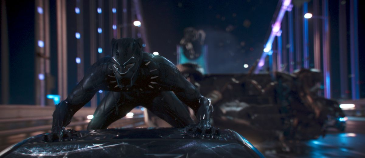 In his full Black Panther garb, T'Challa continues his pursuit.