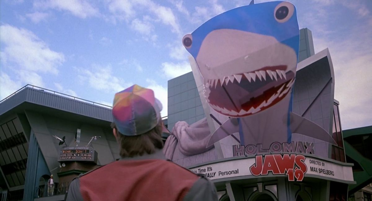 Jaws 19 — a holofilm playing at the Holomax Theater in Hill Valley in October 2015, directed by Max Spielberg.