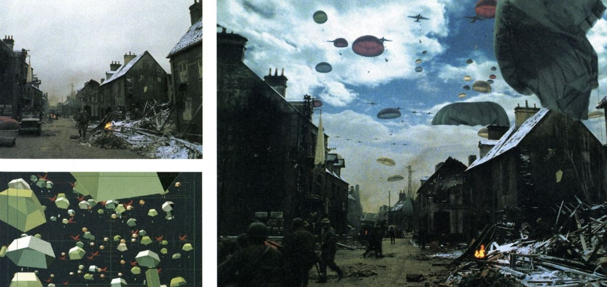 Easy Company holds the devastated town of Bastogne while surrounded by German forces. These composites, provided by Cinesite, show a sequence in which the troops receive a much-needed airborne resupply. The CG parachutes and C-47 planes were tracked into a shot of the battle-blasted town. The illustration at lower left shows low-res proxy representations of the parachutes, which were used to layout the shots in real-time. During the rendering phase, the proxys were automatically replaced with high-res versions. Smoke effects were added to the scene. (Note: Color timing of the series was not completed at press time, so these shots were manipulated in Photoshop to provide AC's readers with an approximation of the scene's actual timing, which will result in a bleached-out look with heightened blacks.)