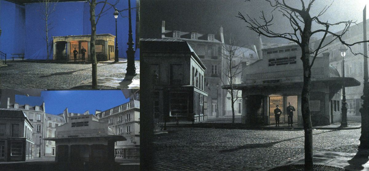 This composite by Cinesite shows Officer Richard Winters (Damian Lewis) exiting a metro station in Paris. The upper-left shot shows the bluescreen live-action element, with the scene's actors standing by a partial set; the shot at the lower-left illustrates the bluescreen (matte) motion-control pass of miniature French buildings, and the shot on the far right shows the finished composite.