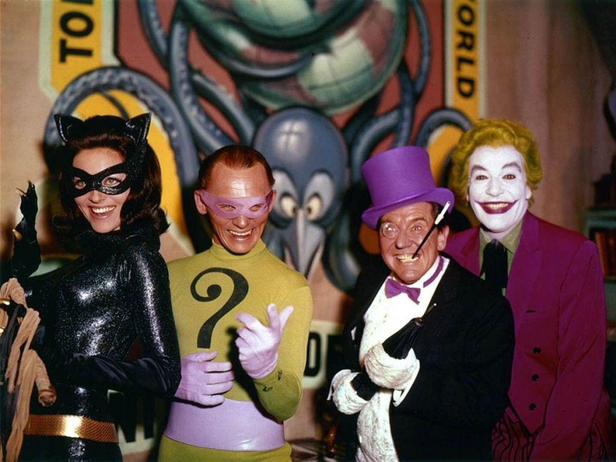 Batman's Rogue Gallery: From left, Catwoman (Lee Meriwether), The Riddler (Frank Gorshin), The Penguin (Burgess Meredith) and Cesar Romero as the Joker.