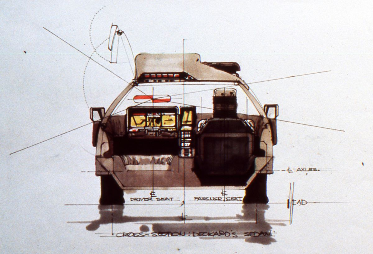 A mechanical sketch of Deckard's sedan — complete with gull-wing door.