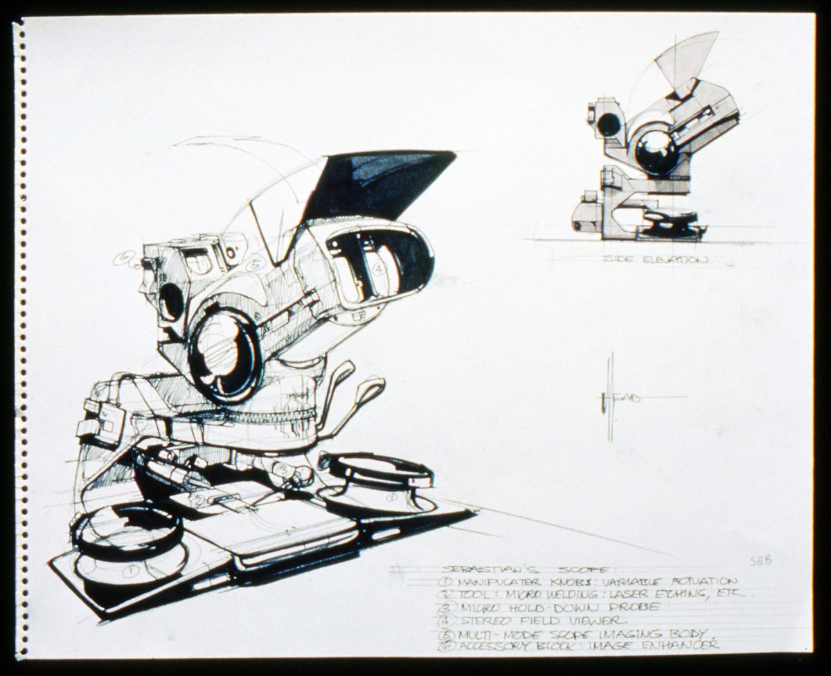 Designing Sebastian's lab required additional components, including this microscope-like device.