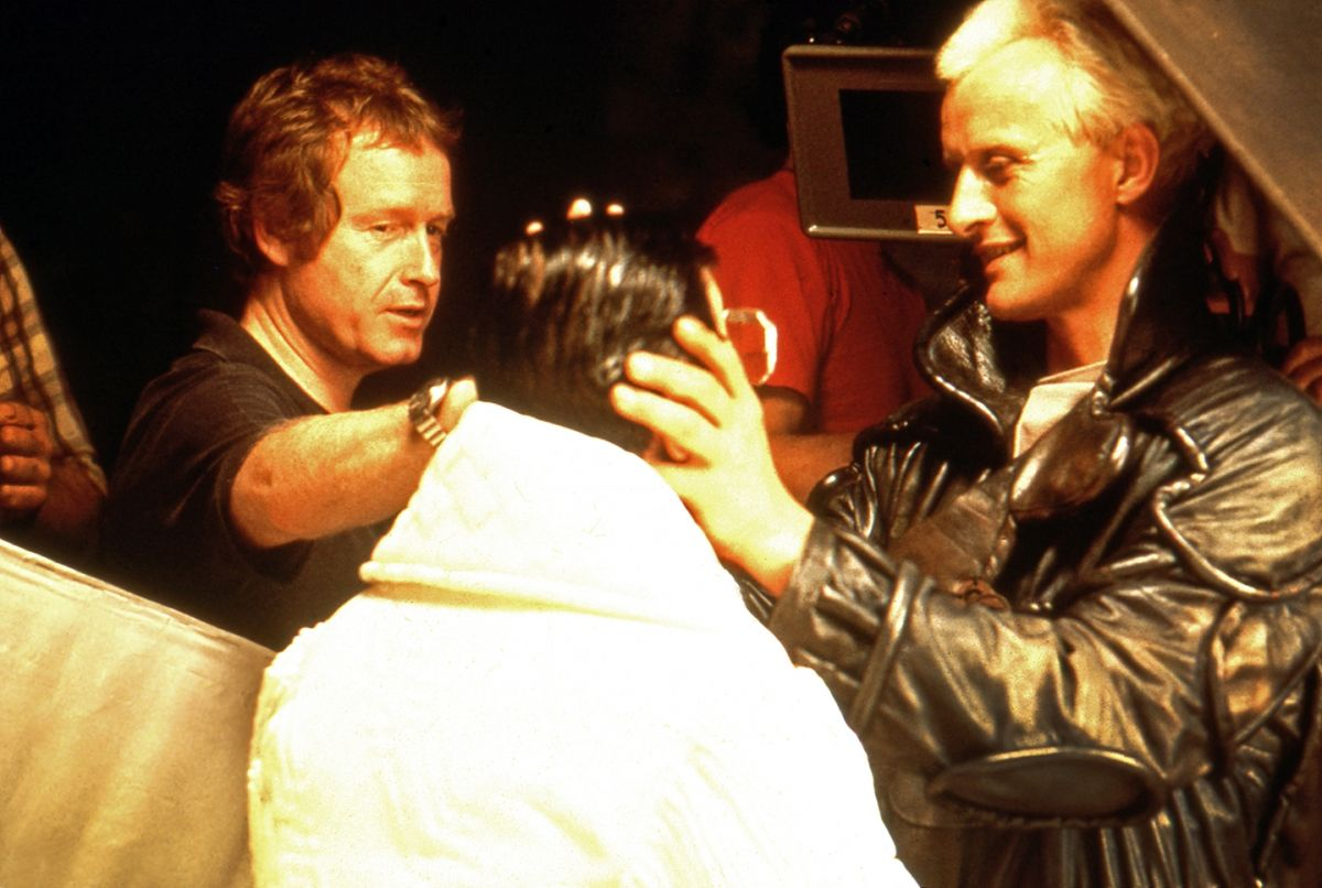 Scott and Hauer prep to shoot Tyrell's gruesome demise — a prop head standing in for the actor.