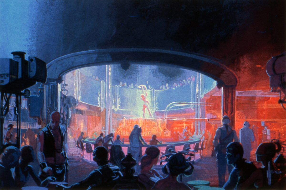 A rendering of the cabaret where Deckard tracks down the replicant Zhora.