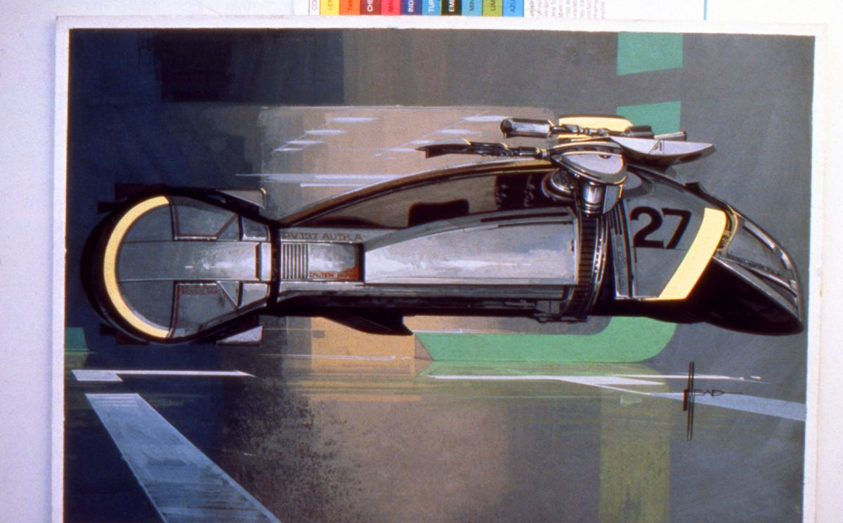 "One of Mead's many concept illustrations for the ""Spinner,"" the front road wheels pivoted into ""flying"" position."