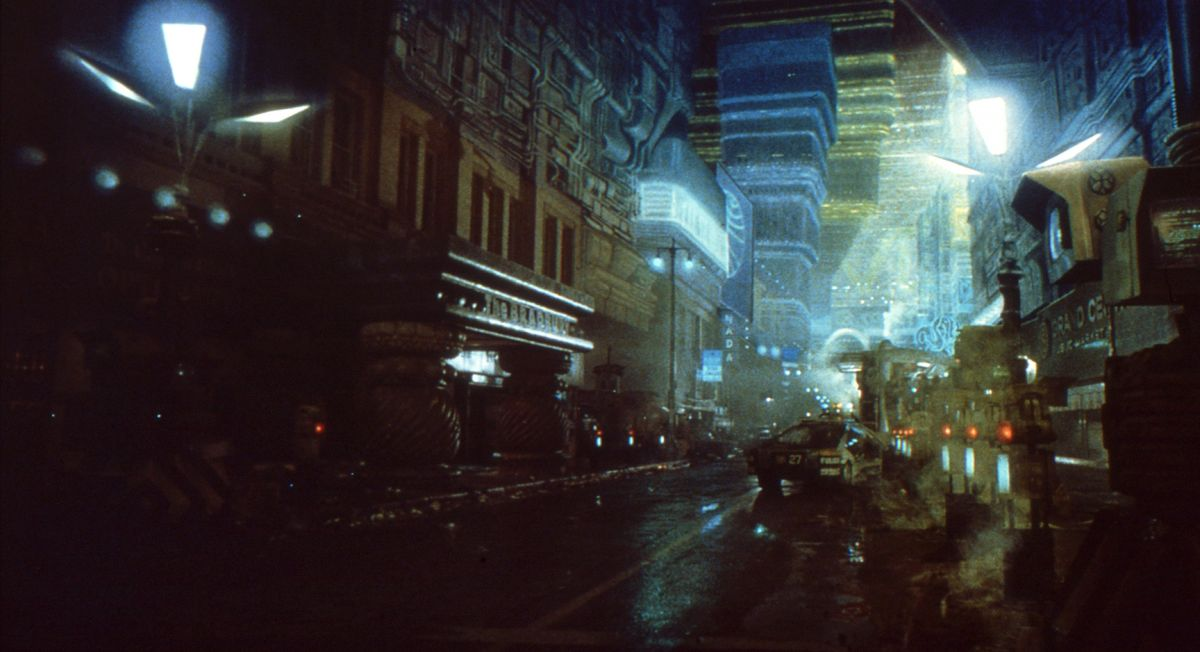 Smoke and rain effects helped tie together live-action photography and matte paintings.