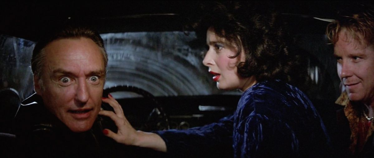 Dorothy tries to calm an unhinged Frank during the harrowing  joyride sequence, which took great advantage of the film's widescreen frame.