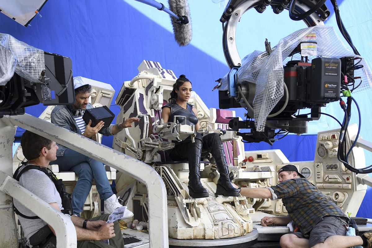 The crew readies a scene with Valkyrie (Tessa Thompson) piloting her ship.