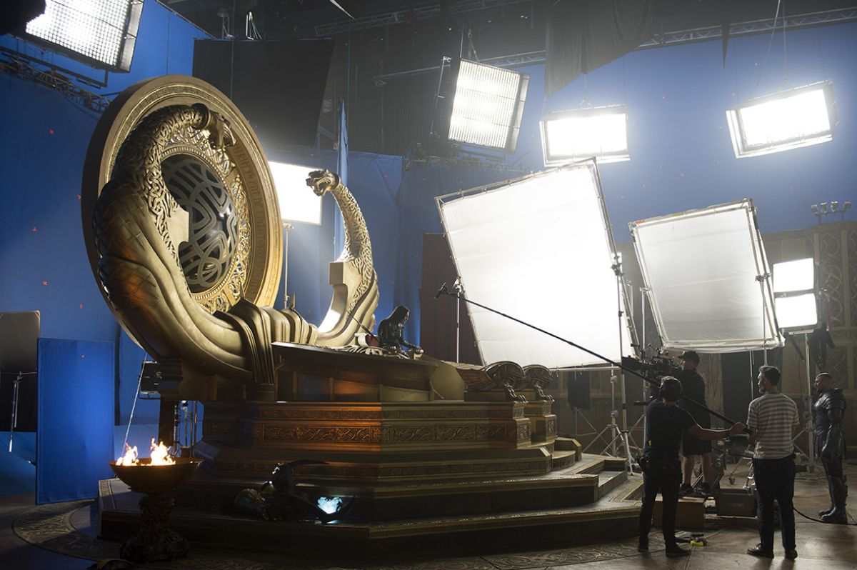 The crew captures a scene between Hela (Cate Blanchett) and Skurge in Asgard's throne room.
