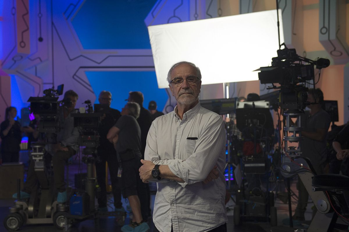 Cinematographer Javier Aguirresarobe, ASC, AEC on the Grandmaster's chambers set.