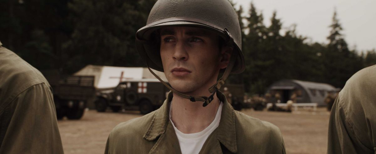 Prior to Dr. Erskine's treatment, Steve Rogers must prove himself in basic training.