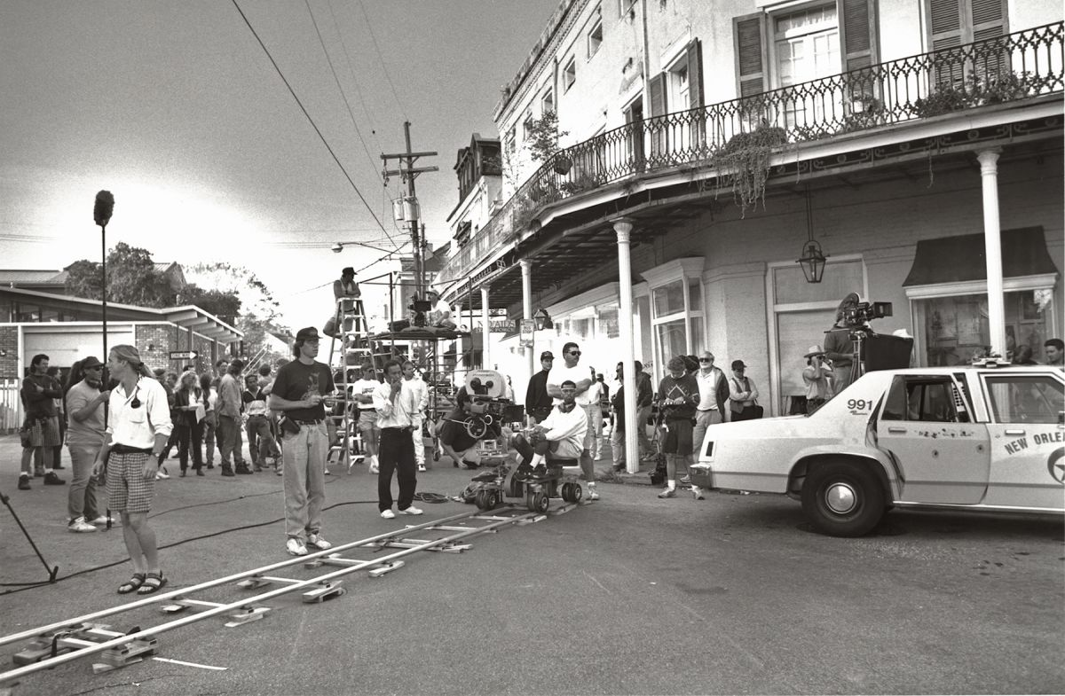 On location in New Orleans setting up a tracking shot for Hard Target.