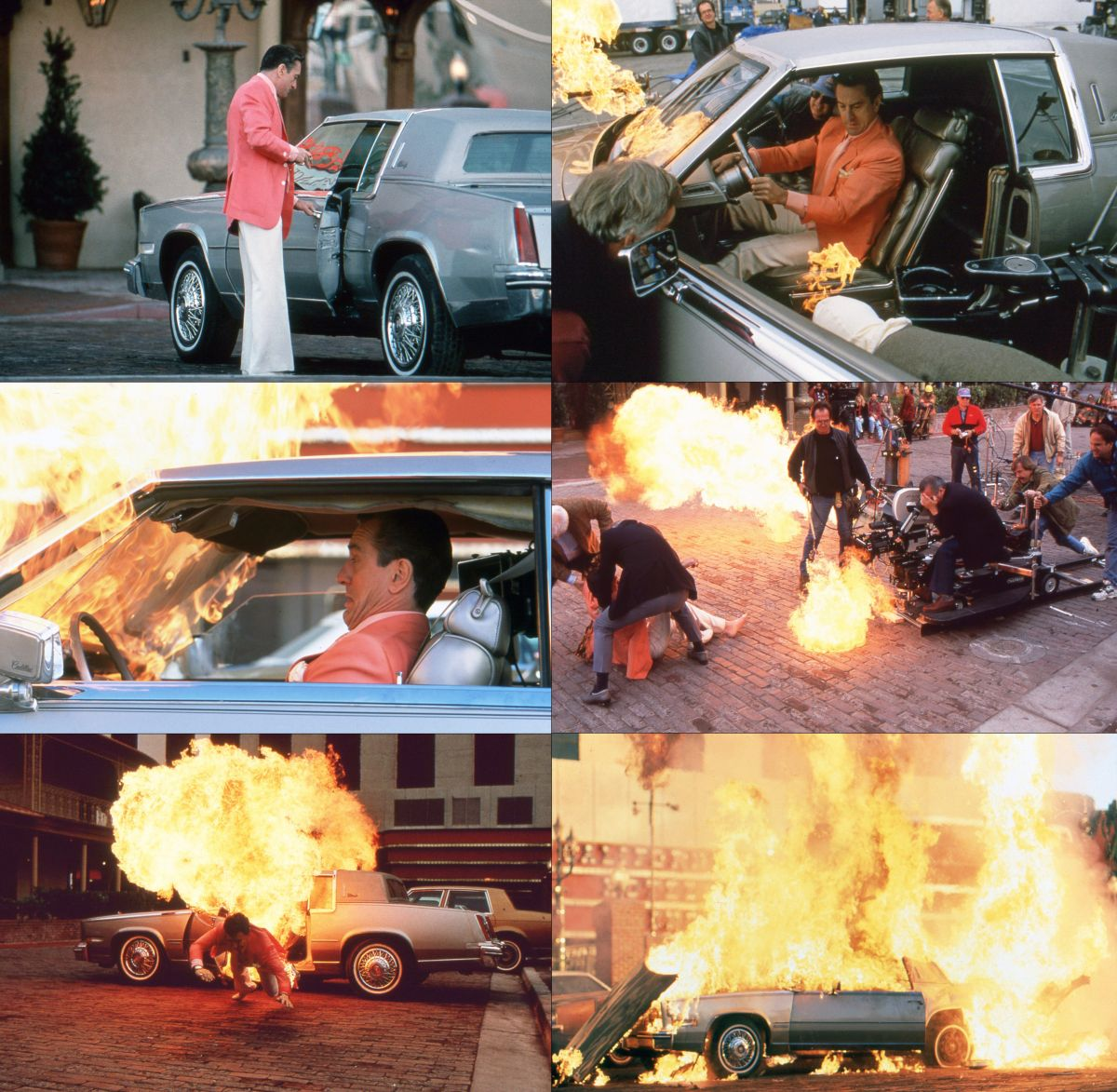 "Different views of the car-bombing scene were used throughout the film, creating a ""gradual reveal.""  The actual outcome of the scene becomes clear only in the latter stages of the story. Here, Scorsese rides the dolly to get the shot as De Niro braves real flames."