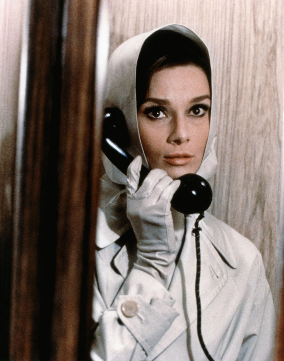 This is a promotional still with Hepburn in the aforementioned phone booth.