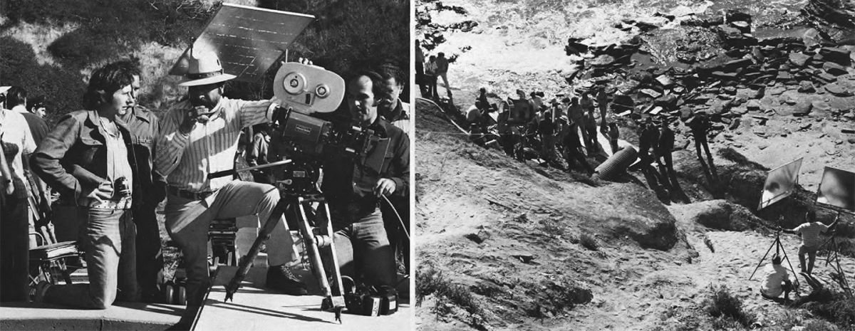 On left, Polanski and Alonzo discuss and upcoming shot. On right, reflectors provide fill for sequence shot along a rugged stretch of California coastline where Gittes makes a gruesome discovery.
