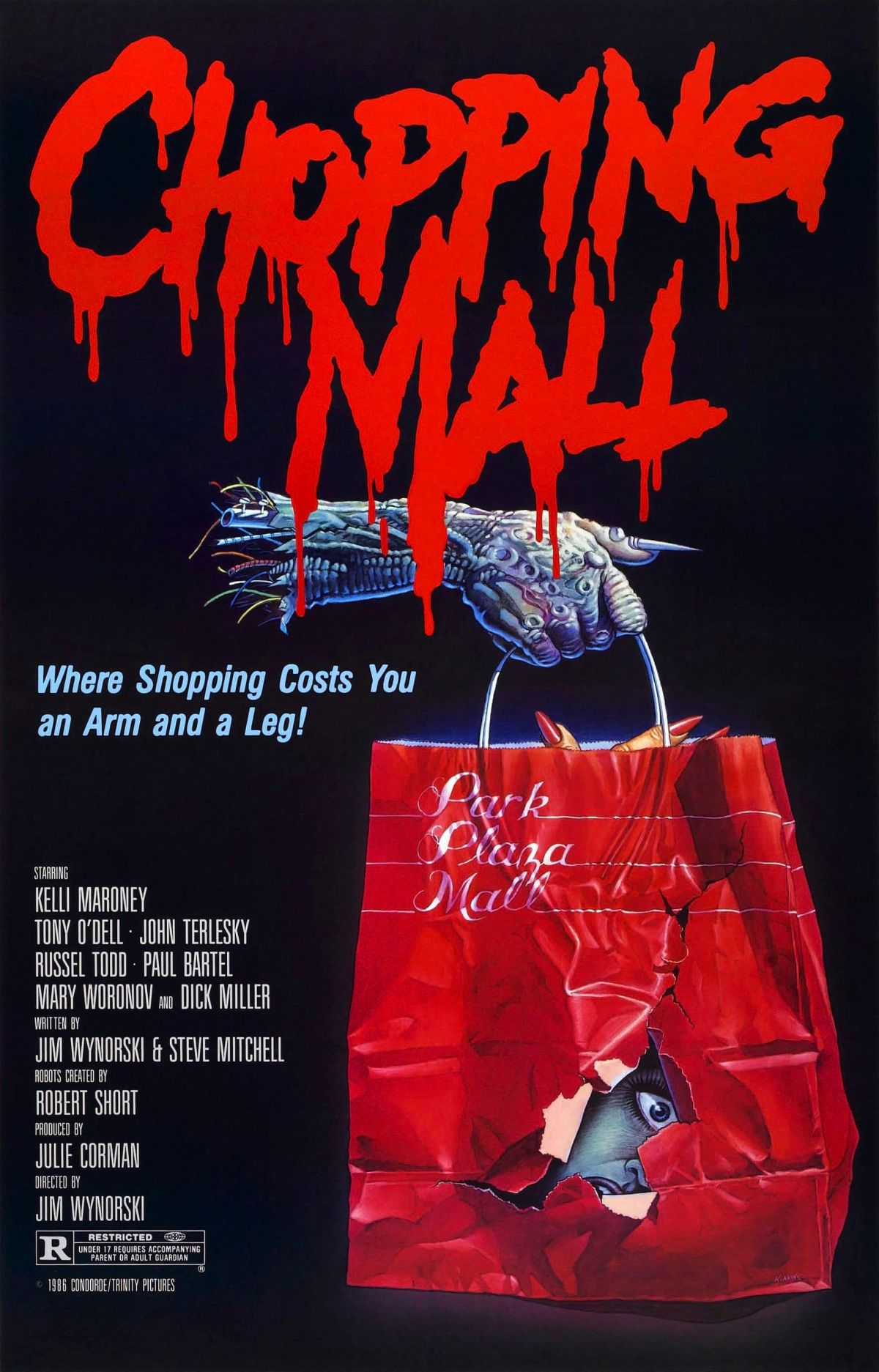 Originally released in a limited run under the name Killbots, the film didn't do well at the box office, and was then rebranded as Chopping Mall, with a poster that takes the focus off the bots and puts it on the setting.