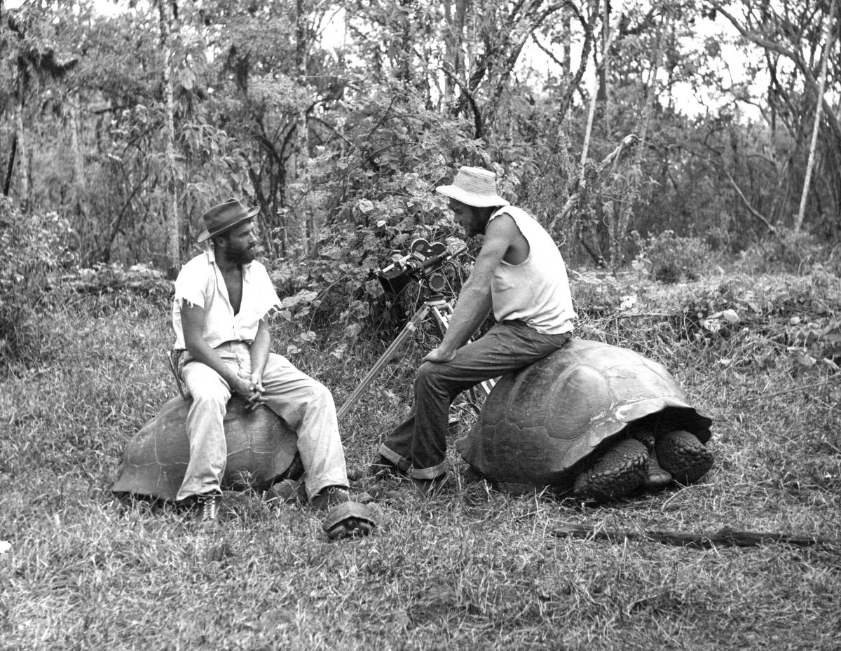 From left, Conrad L. Hall and Couffer shooting in the Galapagos Islands. Both would later become ASC members. (Photo from the ASC Archives)