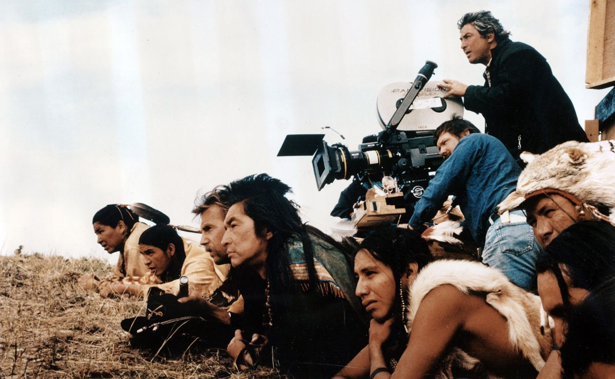 Shooting Dances with Wolves (1990) on location, Dean Semler, ASC, ACS is at the camera as his director and star Kevin Costner is together with some of his exceptional Native American cast, including co-star Graham Greene.