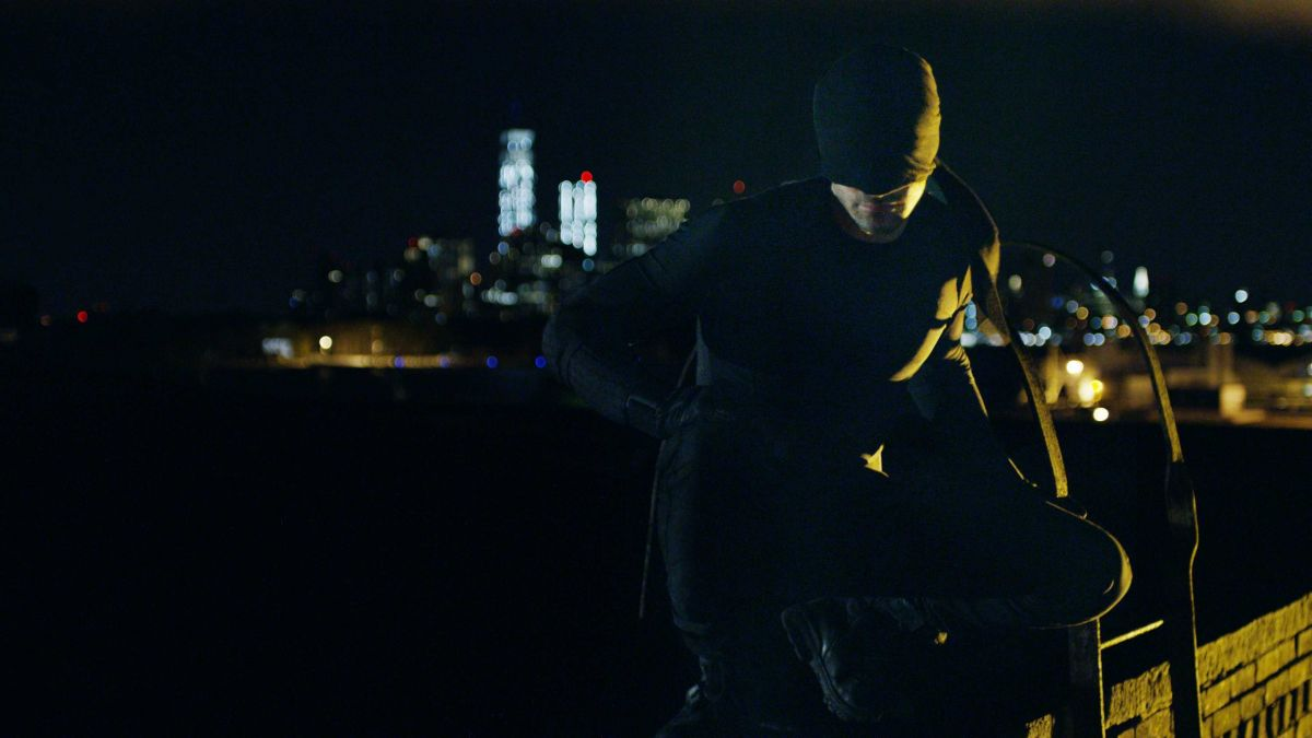 """Murdock stalking the rooftops of Hell's Kitchen, prior to claiming his mantle as """"Daredevil"""""""
